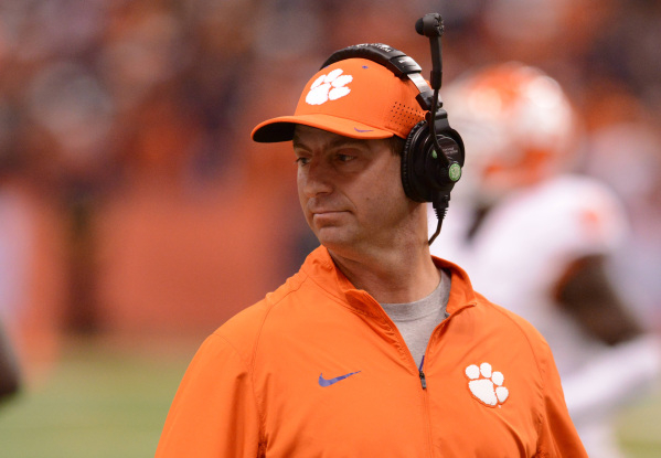 Nov 14, 2015; Syracuse, NY, USA; Clemson Tigers head coach Dabo Swinney looks on from the sideline during the fourth quarter of a game against the Syracuse Orange at the Carrier Dome. Clemson won  ...