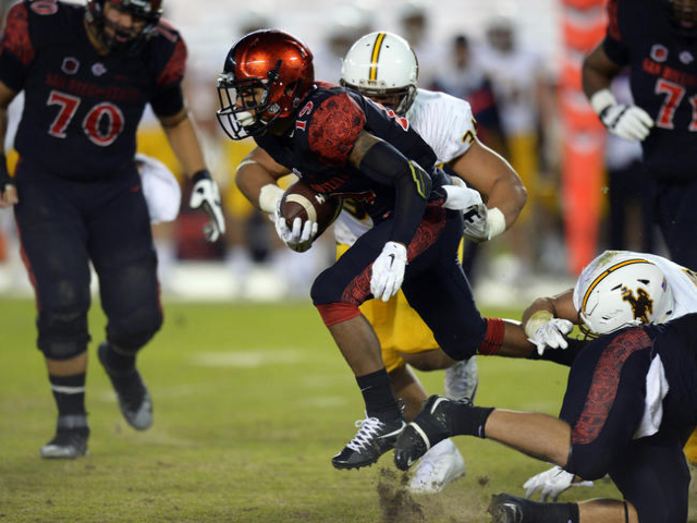 Nov 14, 2015; San Diego, CA, USA; San Diego State Aztecs running back Donnel Pumphrey (19) is defended by Wyoming Cowboys defensive end Siaosi Hala'api'api (34) during the second quart ...