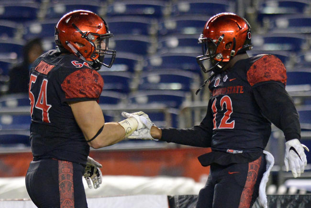 Nov 14, 2015; San Diego, CA, USA; San Diego State Aztecs defensive back Malik Smith (12) and linebacker Calvin Munson (54) celebrate after an interception by Smith during the fourth quarter agains ...