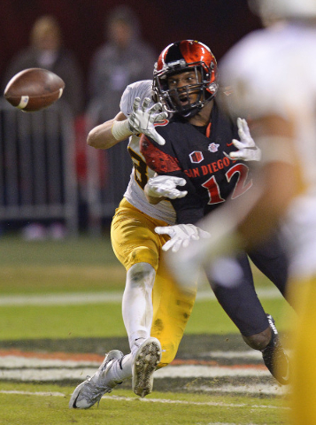 Nov 14, 2015; San Diego, CA, USA; San Diego State Aztecs defensive back Malik Smith (12) intercepts a pass intended for Wyoming Cowboys wide receiver Jake Maulhardt (83) during the fourth quarter  ...