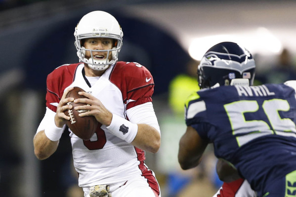 Nov 15, 2015; Seattle, WA, USA; Arizona Cardinals quarterback Carson Palmer (3) drops back to pass against the Seattle Seahawks during the first quarter at CenturyLink Field. Mandatory Credit: Joe ...