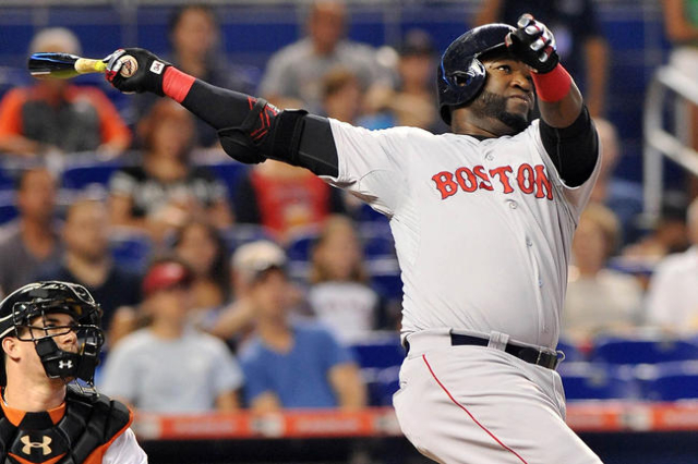 Boston Red Sox first baseman David Ortiz hits a solo home run during the second inning against the Miami Marlins at Marlins Park in Miami, Florida, in this file photo taken August 12, 2015. Ortiz  ...