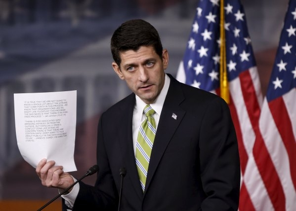 U.S. Speaker of the House Paul Ryan (R-WI) holds a news conference on Capitol Hill in Washington November 19, 2015. Ryan said that the Syrian refugee bill would be the first of many on security an ...