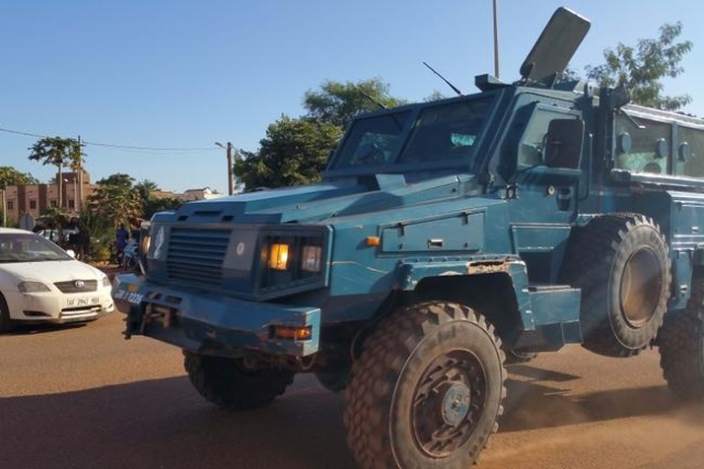 Security forces drive an armored vehicle near the Radisson hotel in Bamako, Mali, November 20, 2015. (Adama Diarra/Reuters)