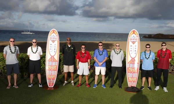 Nov 22, 2015; Maui, HI, USA; From left to right St. John's coach Chris Mullins, Vanderbilt coach Kevin Stallings, Wake Forest coach Danny Manning, Indiana coach Tom Crean, Kansas coach Bill  ...