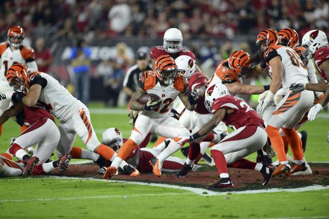 Cincinnati Bengals running back Jeremy Hill (32) runs the ball against the Arizona Cardinals during the first half at University of Phoenix Stadium. The Cardinals won 34-31. Mandatory Credit: Joe  ...