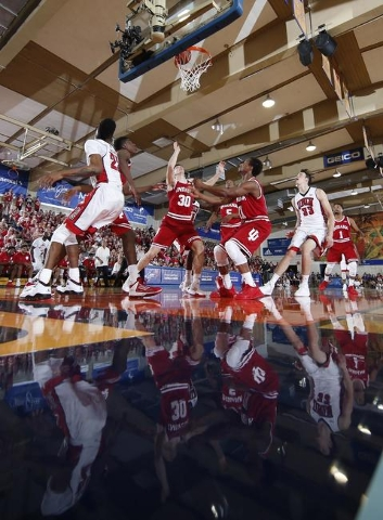 Nov 25, 2015; Lahaina, HI, USA; Indiana Hoosiers forward Collin Hartman (30) battles for a rebound against UNLV Rebels center Stephen Zimmerman Jr. (33) during the Maui Jim Maui Invitational at th ...