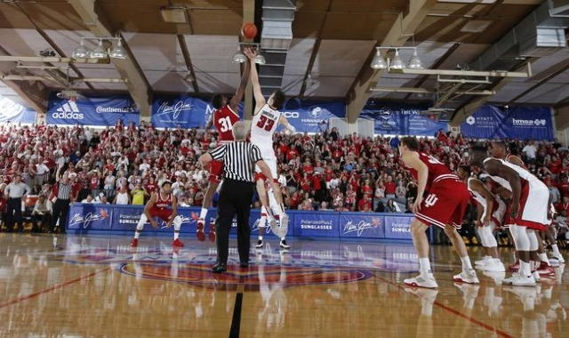Nov 25, 2015; Lahaina, HI, USA; Indiana Hoosiers center Thomas Bryant (31) goes up for the opening tip against UNLV Rebels center Stephen Zimmerman Jr. (33) during the Maui Jim Maui Invitational a ...