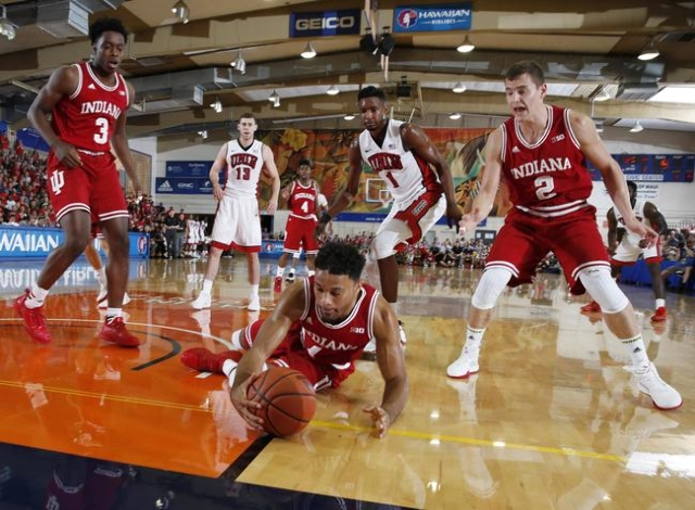 Nov 25, 2015; Lahaina, HI, USA; Indiana Hoosiers guard James Blackmon Jr. (1) dives for a loose ball against  the UNLV Rebels during the Maui Jim Maui Invitational at the Lahaina Civic Center. Man ...