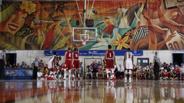 Nov 25, 2015; Lahaina, HI, USA; Indiana Hoosiers forward Troy Williams (5) shoots a free throw against  the UNLV Rebels during the Maui Jim Maui Invitational at the Lahaina Civic Center. Mandatory ...