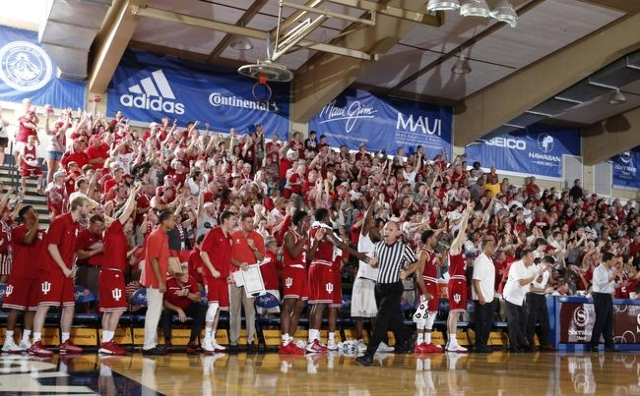 Nov 25, 2015; Lahaina, HI, USA; Indiana Hoosiers fans and bench cheer during a game against  the UNLV Rebels during the Maui Jim Maui Invitational at the Lahaina Civic Center. Mandatory Credit: Br ...