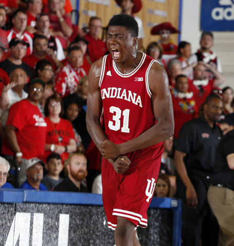Nov 25, 2015; Lahaina, HI, USA; Indiana Hoosiers center Thomas Bryant (31) reacts to Indiana getting the ball back late in the game against the UNLV Runnin Rebels during the Maui Jim Maui Invitati ...