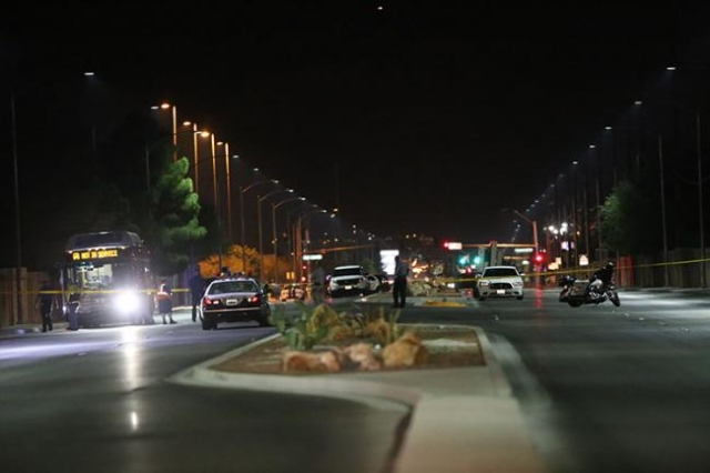 Police investigate the scene where a pedestrian was killed in a RTC bus crash on Vegas Drive, just west of Martin Luther King Boulevard, Sunday, Nov. 1, 2015 in Las Vegas. (Rachel Aston/Las Vegas  ...