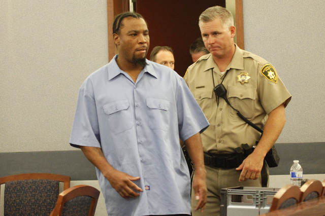 LeSean Collins enters the courtroom for opening statements in his case at the Regional Justice Center in Las Vegas Monday, August 3, 2015. (Erik Verduzco/Las Vegas Review-Journal) Follow him @Erik ...