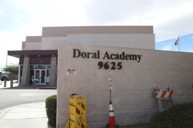Doral Academy has been evacuated while fire crews investigate an odor of smoke, officials say. (Bizuayehu Tesfaye/Las Vegas Review-Journal)