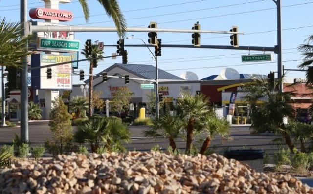 A motorcyclist died after striking a semitrailer in front of Mandalay Bay on the Las Vegas Strip Sunday night, Nov. 1, 2015. (Bizuayehu Tesfaye/Las Vegas Review-Journal Follow him @bizutesfaye)