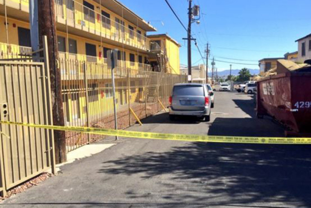 Las Vegas police are investigating the death of a woman they say was found dead Friday inside the Siegel Suites near Fremont Street and Maryland Parkway. (Wesley Juhl/Las Vegas Review-Journal)