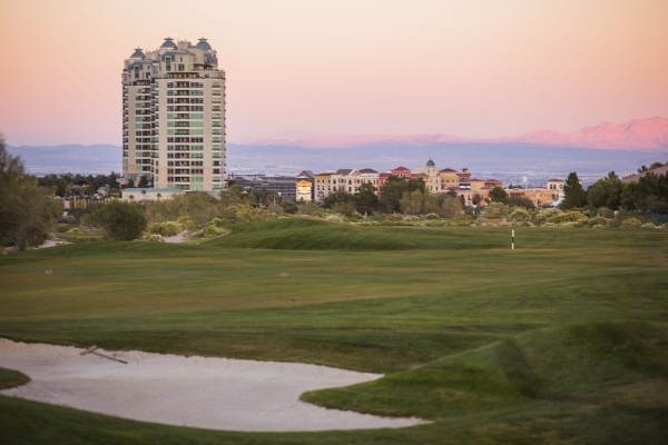 One Queensridge Place, left, 9103 Alta Drive, and Tivoli Village at Queensridge is seen from the Badlands Golf Course on Wednesday, Nov. 12, 2015. EHB Companies,  partner and operation manager of  ...
