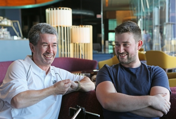 Las Vegas tourist and Irishman Joseph Griffin, left, participates in an interview with his son Evan, 20, at Skyfall Lounge at the Delano hotel Friday, Nov. 20, 2015, in Las Vegas. Joseph became an ...