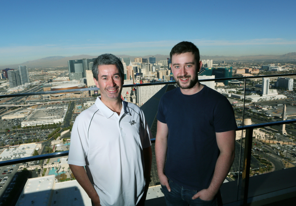 Las Vegas tourist and Irishman Joseph Griffin, left, stands for a photo with his son Evan, 20, at Skyfall Lounge at Delano hotel Friday, Nov. 20, 2015, in Las Vegas. Joseph became an overnight Int ...