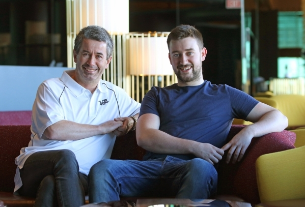 Las Vegas tourist and Irishman Joseph Griffin, left, sits with his son Evan, 20, for a photo at Skyfall Lounge at the Delano hotel Friday, Nov. 20, 2015, in Las Vegas. Joseph became an overnight I ...