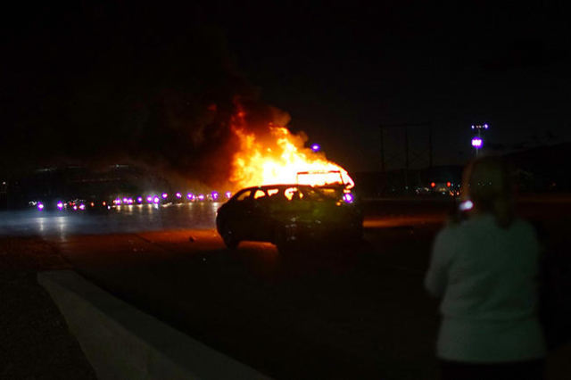 A fiery crash shut down east St. Rose Parkway near Coronado Center Drive Tuesday afternoon. (Courtesy/Ryley Isakson)