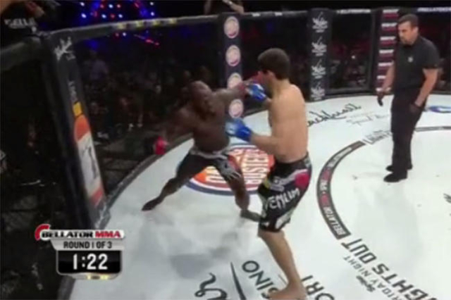 Manhoef landed a perfect left hook to knock Kato out cold 3:43 into the first round of the main event of a Bellator MMA card in Thackerville, Okla. (ZombieProphet/Vine)