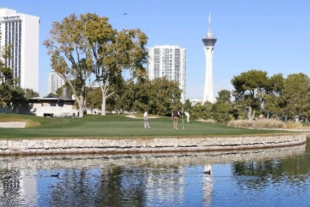 The Stratosphere is seen from the Las Vegas Country Club on 3000 Joe W. Brown Drive, Friday, Nov. 20, 2015. (. (Bizuayehu Tesfaye/Las Vegas Review-Journal) Follow @bizutesfaye