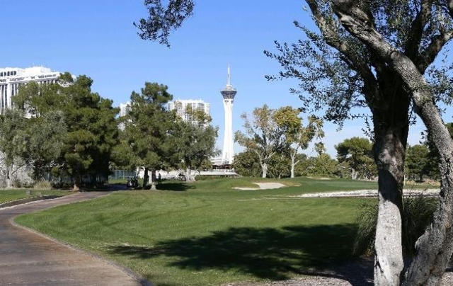 The Stratosphere is seen from the Las Vegas Country Club on 3000 Joe W. Brown Drive, Friday, Nov. 20, 2015. . (Bizuayehu Tesfaye/Las Vegas Review-Journal) Follow @bizutesfaye