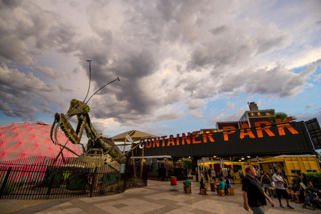 The fire-shooting preying mantis sits out front of Container Park in downtown Las Vegas on Wednesday, July 1, 2015. (Joshua Dahl/Las Vegas Review-Journal)