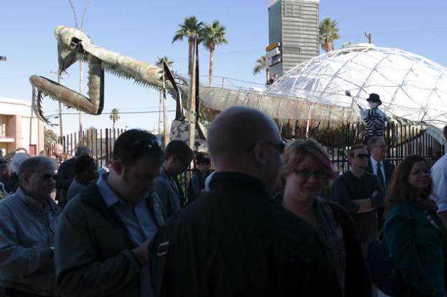 Visitors wait to enter the Container Park in downtown Las Vegas during its opening Monday, Nov. 25, 2013. (Erik Verduzco/Las Vegas Review-Journal)