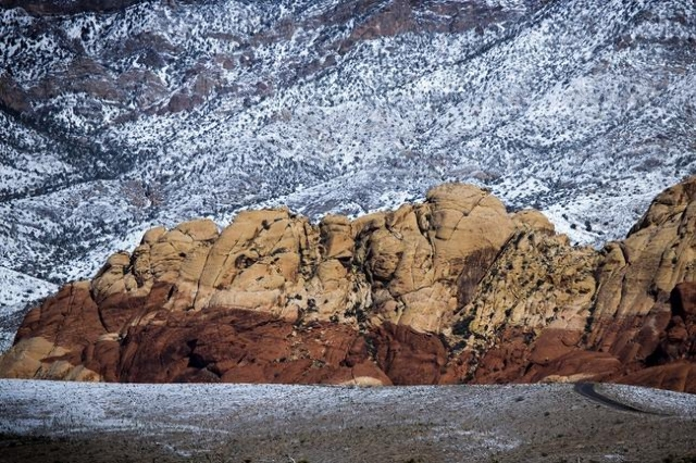 Snow blankets the Red Rock Canyon National Conservation Area on Tuesday, Feb 24, 2015. (Jeff Scheid/Las Vegas Review-Journal)