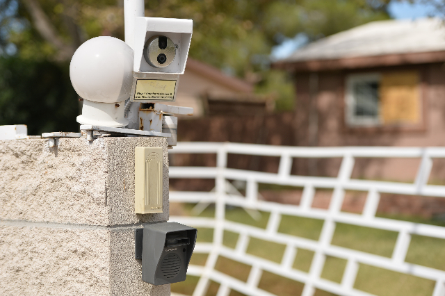 A doorbell-mounted camera is one of the many surveillance tools at the home of Rick Van Thiel on Thursday, Oct. 8, 2015 in Las Vegas, where he allegedly performed medical procedures like abortions ...