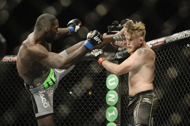 Anthony 'Rumble' Johnson (L) of the U.S. fights with Alexander 'The Mauler' Gustafsson of Sweden in their UFC light heavyweight mixed martial arts bout at Tele2 Arena in St ...
