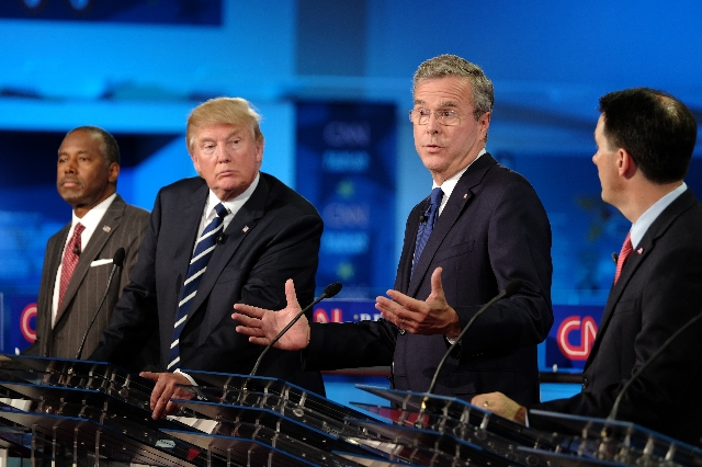 Donald Trump said Thursday, Sept. 17, 2015, that Jeb Bush should have leaned on him harder to apologize to Columba, Bush's wife. The former Florida governor pressed Trump to say he was sorry ...