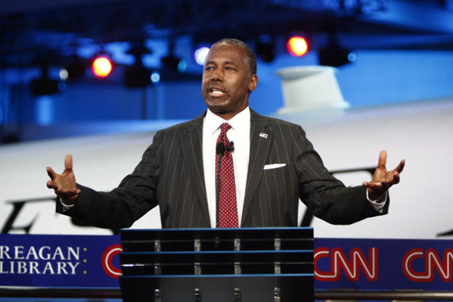 Ben Carson responds to a question during the CNN Republican Presidential Debate at the Ronald Reagan Presidential Library in Simi Valley, California on Sept. 16, 2015. (CNN)