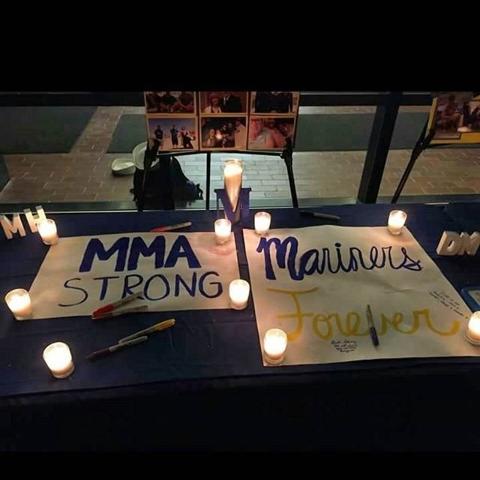 The students of the Maine Maritime Academy held a vigil for their peers aboard El Faro, Oct. 6, 2015.  (Emine Mutlu/CNN)