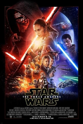 "Official poster for the movie ""Star Wars The Force Awakens."""