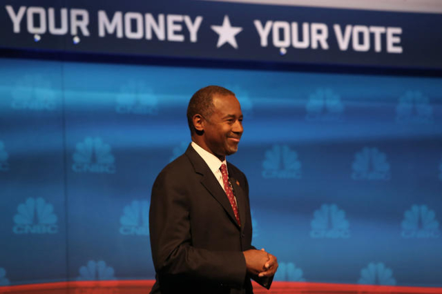 "Ben Carson participates in CNBC's ""Your Money, Your Vote: The Republican Presidential Debate"" live from the University of Colorado Boulder in Boulder, Colorado Wednesday, October 2 ..."