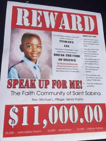 Chicago churches are offering an $11,000 reward for information leading to the arrest of the murderer of 9-year-old Tyshawn Lee. (The Faith Community of Saint Sabina/CNN)