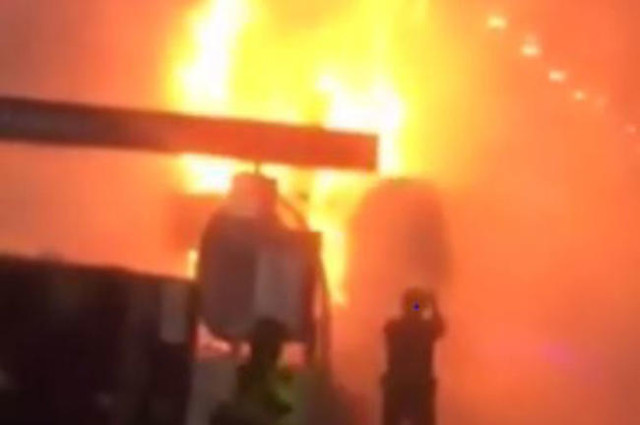 A fire in a vendor booth at an ophthalmology convention at the Sands Expo and Convention Center on Thursday, Nov. 12, 2015, caused an estimated $100,000 in damage.(Clark County Fire Department)