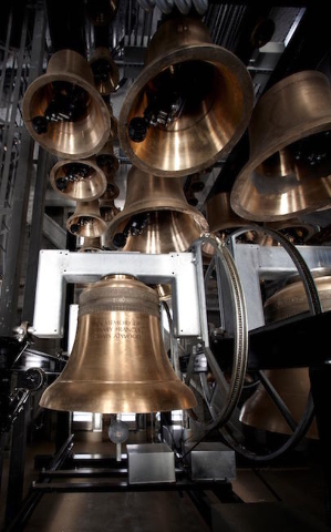 Cast bronze bells of the Carillon Tower (Courtesy Smith Center)
