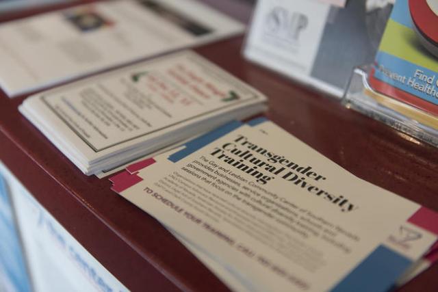 A flyer for transgender cultural diversity training is seen at the reception desk of The Gay & Lesbian Community Center of Southern Nevada Sunday, Nov. 15, 2015. Jason Ogulnik/Las Vegas Review ...