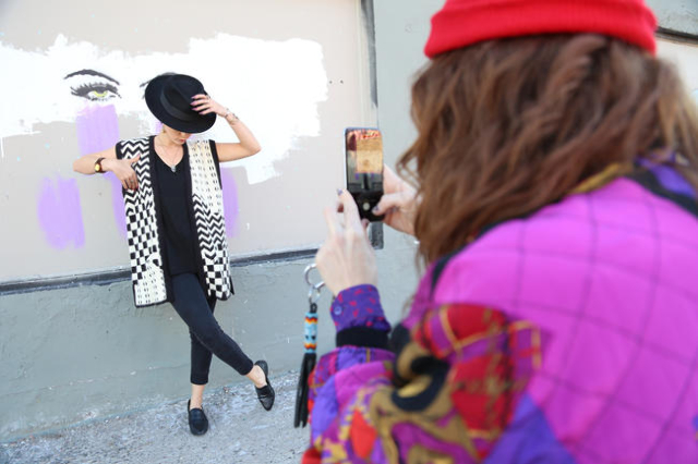Michelle Kolnik, AKA Crykit, photographs her regular model and friend Alexandria Bell before during a photo shoot on California Avenue Friday, Nov. 6, 2015 in Las Vegas. Photo by Rachel Aston/Las  ...