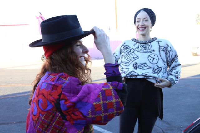 Michelle Kolnik, AKA Crykit, laughs with her friend and regular model Alexandria Bell during a photo shoot on California Avenue Friday, Nov. 6, 2015 in Las Vegas. Photo by Rachel Aston/Las Vegas R ...