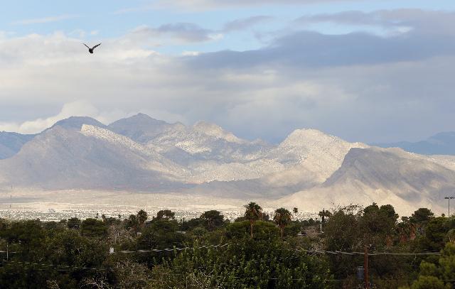 Clouds hang above the Las Vegas Valley. (Bizuayehu Tesfaye/Las Vegas Review-Journal Follow @bizutesfaye))