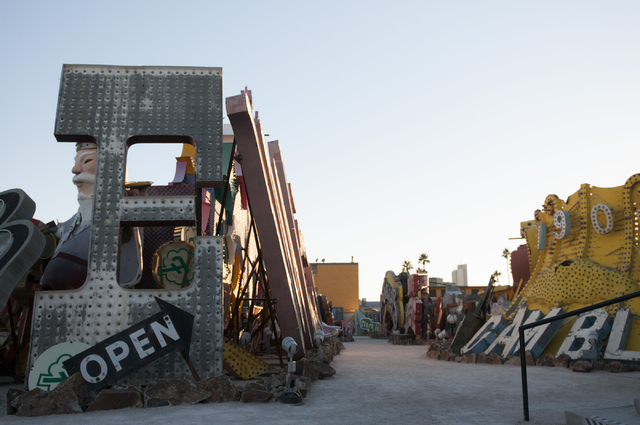 Signs are seen at the Neon Museum during a tour on Friday, Nov. 1, 2013, in Las Vegas. The museum is celebrating its one-year anniversary. (Erik Verduzco/Las Vegas Review-Journal)