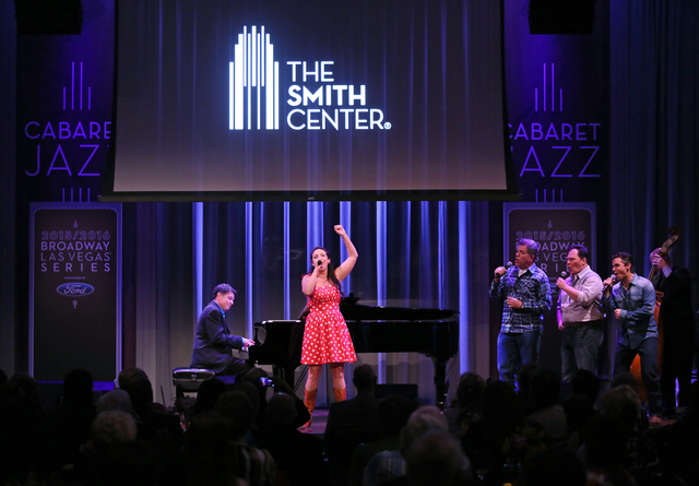 "Performers entertain audience members with a number from ""Idaho"" during a reveal of the The Smith Center's 2015-16 Broadway season lineup at The Smith Center Monday, Feb. 23, 2015, ..."