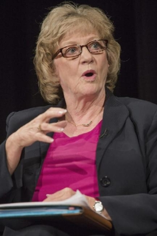 Senator Joyce Woodhouse, senate committee on education, speaks during the K-12 Education Policy Committee panel discussion at Vegas PBS, 3050 E Flamingo Road, on Tuesday, Dec. 16, 2014. The Las Ve ...