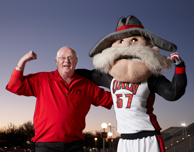 Mike Miller, creator of the Hey Reb mascot poses with his creation in front of the Thomas and Mack Center February 10, 2011 at the University of Nevada, Las Vegas. (Aaron Mayes / UNLV Photo Services)